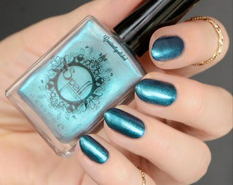 White Knight SPELL iridescent AQUA BLUE top coat shimmery nail polish!