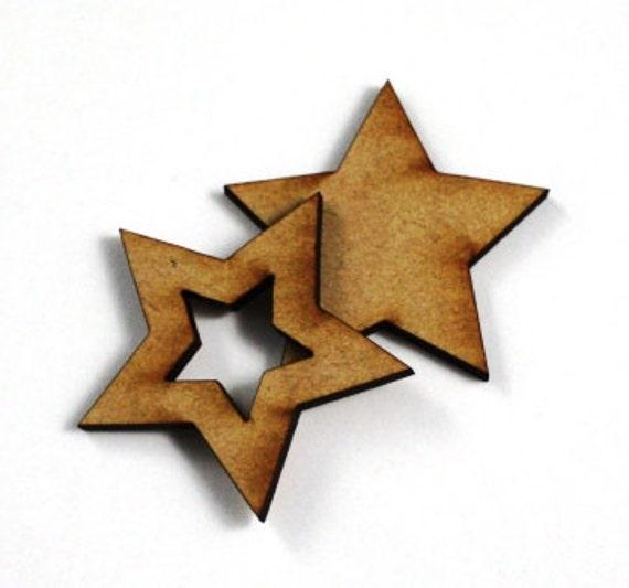 1 Large Craft Wood Bezel Star Frames, 250 mm Wide, lasercut wood