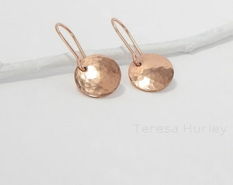 Hammered Rose Gold Earrings, Disc Earrings, Small Gold Drop Earrings