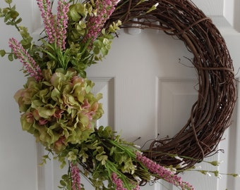 Spring Wreath. Summer Wreath.Front Door Wreath.Casual Wreath. Spring Hydrangeas.Green and Pink Wreath.Everyday Wreath.Mother's Day Gift