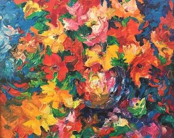 "Fedir Panchuk original oil painting on canvas ""Gladiolus"""