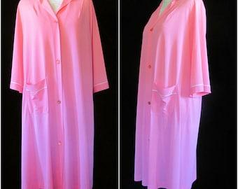 Vintage '60s Lorraine Neon Hot Pink Nylon Nightgown Peignoir Robe Size M Medium L Large 8 10 12