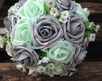 Wedding Bouquet, Bridal Bouquet, Mint Rose Bouquet, Artificial Silver Flower Bouquet, Bridesmaids Bouquet,Fake Flower Bouquet SH-DJ-011