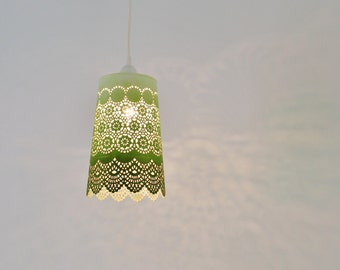 Ombre Pendant Light, Hanging Pendant Lighting Fixture, Metal Lace Shade In Green Ombre, Modern BootsNGus Lamps and Home Decor