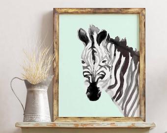 Safari Nursery Decor, Zebra Print, Printable Art, Baby Zebra, Safari Theme, Nursery Wall Art, Safari Baby Shower, Safari Animals Wall