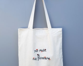 Canvas Tote Bag with Embroidered Quote, Flower Embroidery Art, Personalized Beach Bag, Mother's Day Gift, Custom Bridal Party Gift