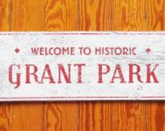 Grant Park Atlanta neighborhood Rustic Sign 5 x 16