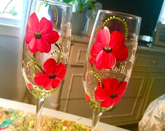 Free shipping Poppy hand painted pair of champagne flutes