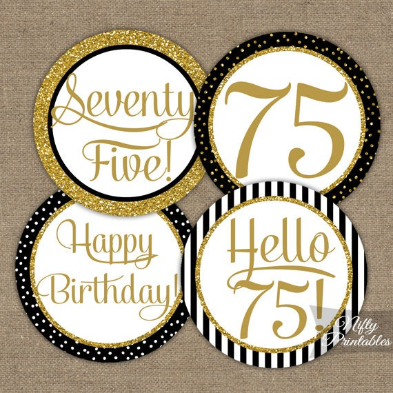 75th Birthday Cupcake Toppers Black Gold 75 Years Bday