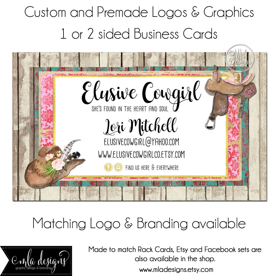 Rustic business cards cowgirl western card m2m logo etsy zoom reheart Image collections