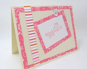Pink Valentine's Day Card - Pink and Ivory Valentine - Thinking of You - Blank Card -  Pink Heart - Pink Flowers