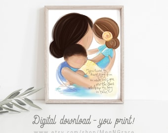 INSTANT DOWNLOAD Mother Dark Brunette with Daughter and Son, Wall Art Decor Printable