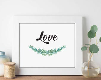 Love Garland Watercolor - Digital Print Download, Wall Art, Typography print, Printable Quote, Art Print