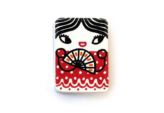 Handpainted wooden brooch - cute spanish girl - flamenco dancer - Carmen - rectangular kawaii brooch