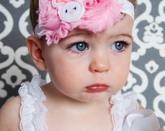 Pink Easter Bunny shabby Headband Baby Headband Shabby Headband Toddler Girl Rabbit