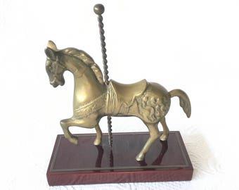 Brass Carousel Horse, Solid Brass Carousel Horse, Brass Horse, Nursery Decor, Childrens Room, Brass Horse Paperweight, Office Decor, Horse