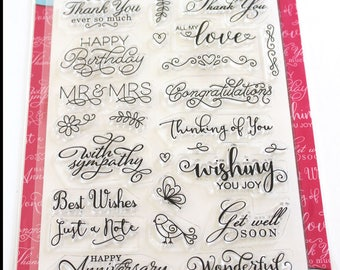 Sincere Sentiments for All Occasions Rubber Stamp Set from Cardmaking and Papercraft SC Design