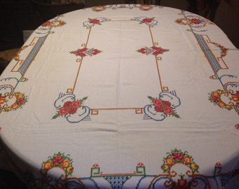 Handmade Vintage Embroidered Tablecloth and Napkins--Gorgeous!