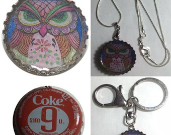 Old Coke Coca-Cola Thailand Soda bottle cap OWL Folk Art Drawing Keychain, Pendant, Necklace