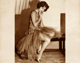 Early 1900's Beautiful Young Show Girl on Bench Vintage  8x10 Photograph Reprint 090