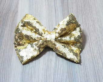 Gold Sequin Barrette Bow Hair Clip | Children's Hair Accessories | Sequin Bow Clip | Sequin Hair Accessory | Cute Girls Hair Clip | Barrette