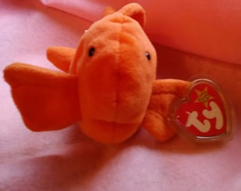 Collectible Ty Beanie Baby Goldie the Fish born 11/14/1994 with swing tag and tush tag errors and  very rare pvc pellets