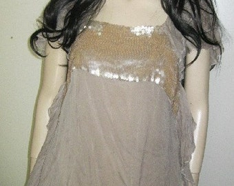Wispy Diaphanous Pure SILK Chiffon RUFFLES Blouse Mermaid SEQUINS Couture Medium