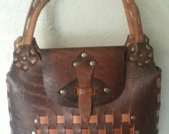 Large Tooled Stamped  Leather Handmade in Mexico Womans  Handbag/Purse