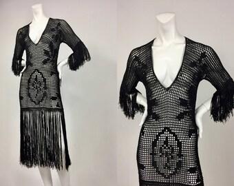 Roaring 20's Fringe Flapper Dress - 1920's Black Silk Crochet Fringe Dress - Flapper Girl - Historical Fashion - Museum Quality - Small/Med