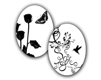 Nature in Black and White - 18x25mm ovals - Instant Download - Digital File