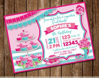 Tea & Cupcakes Birthday Party Invitation - Girl's Birthday Invite - Girly Invite - Pink/Aqua - 5x7 - Digital Download