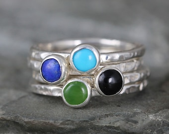 Gemstone Stacking Ring - You choose Turquoise, Lapis, Jade or Onyx - Sterling Silver - Rustic Style - Handmade in Canada