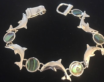 Sterling Silver Dolphin Bracelet With Green Abalone Stones