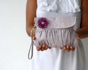 Bridesmaid gift or bridesmaid clutch, Purple Linen Clutch Pleated Purse with Purple beaded flower