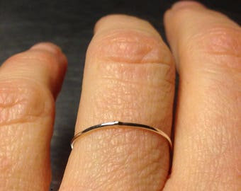 Super ultra thin 0.8mm 14k rose gold band round plain simple skinny dainty little small slim delicate tiny pink Wedding stacking spacer ring