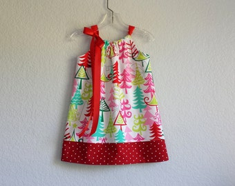 New! Little Girls Christmas Dress - Colorful Christmas Trees in Pink, Red, Aqua and Lime on White - Size 12m, 18m, 2T, 3T, 4T, 5, 6, 8 or 10