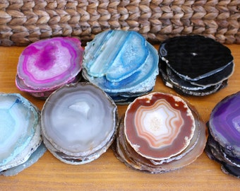 Agate Coasters - Agate Slices Coaster - Size #4 - C Grade - Create Your Own Set (AGBS)