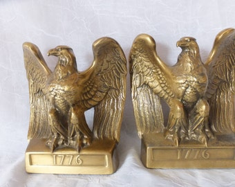 Vintage Patriotic Brass Eagle Bookends 1776