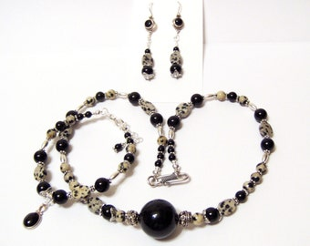 Cookies and Cream Dalmation Jasper Black Onyx Three Piece Set necklace bracelet and earrings too by OklahomaMama