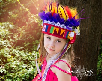 Rainbow Feather Headdress- Fairy Headdress- Feather Headdress- Fairy Costume- Bright Color Headdress- Boho Headdress- Fairy Crown- Headpiece