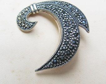 Vintage Marcasite Brooch, Sterling Silver Fleur de Lis Pin
