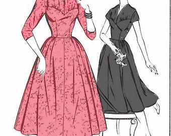 Vintage 1950's Sewing Pattern Lace Bodice Gathered Rockabilly Dress Bust 32""