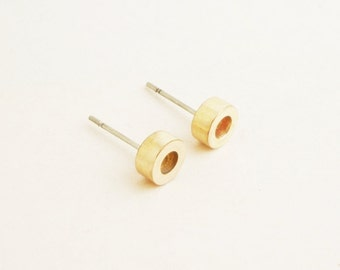 Small Brass Gold Tube Stud Earrings 925 Sterling Silver Posts, Round Tube Earrings Minimal Jewelry,Everyday Jewelry,Simply Jewelry,Geometric