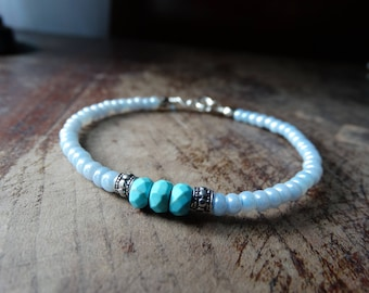 Beaded blue and silver bracelet