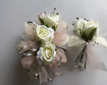 SALE Blush and White Rose Corsage and Boutonniere Set (artificial)