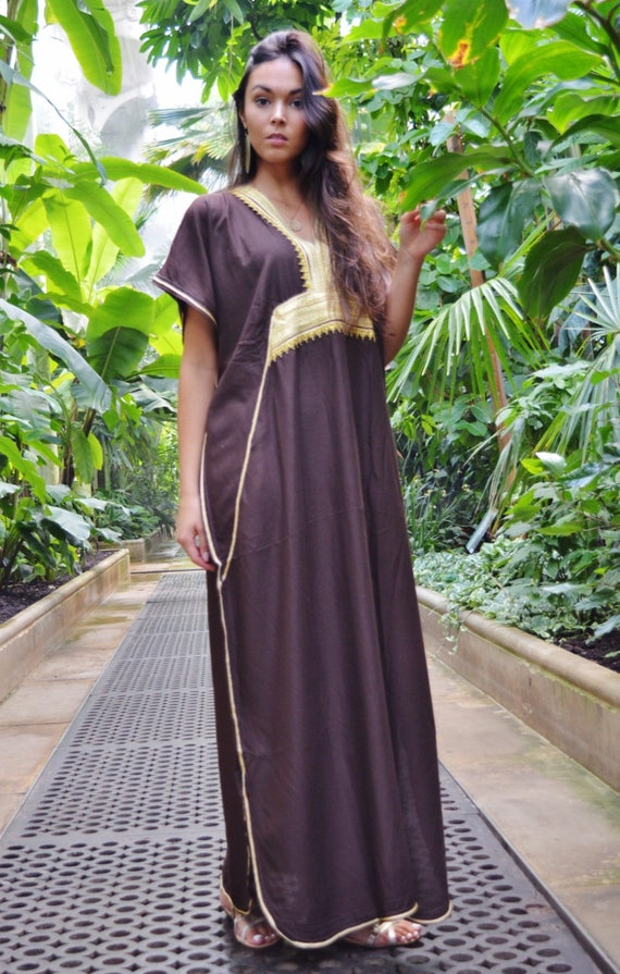Kaftan, Kaftan dress, Caftan, Brown & Gold Marine Marrakech Kaftan, Beach dress, beach cover ups, resortwear, beach kaftan, maternity kaftan