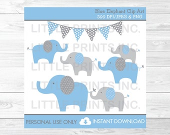 Blue Elephant Clipart PERSONAL USE Instant Download A407