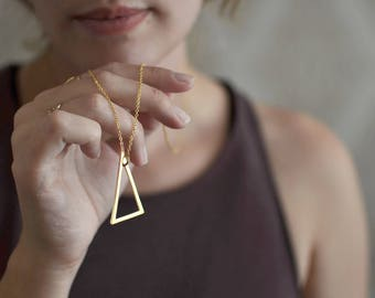Triangle . Long minimalistic gold plated  necklace . modern