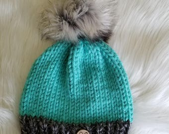Seafoam Beanie with choice of Pom - Loving Lids Gives Back