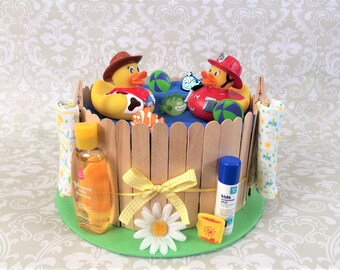 Baby Boy or Girl Diaper cake - One Tier Summer theme hot tub/Jacuzzi/spa/pool diaper cake - Made to Order